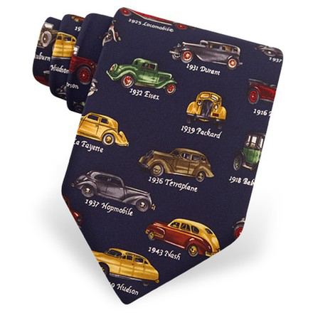 Alynn Men's Classic Vintage Cars Neck Tie