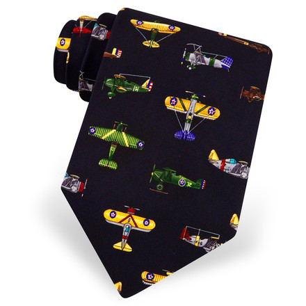 Alynn Men's Vintage Airplane Blue Neck Tie
